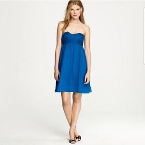 J CREW teal silk strapless chiffon overlay dress